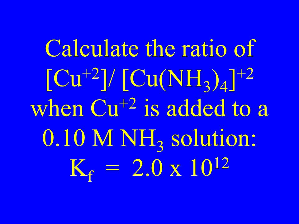 Calculate the ratio of [Cu+2]/ [Cu(NH3)4]+2 when Cu+2 is added to a 0